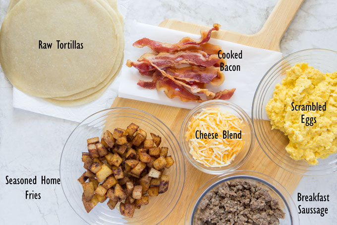 Ingredients for Texas breakfast tacos