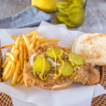 Pork tenderloin sandwich with fries