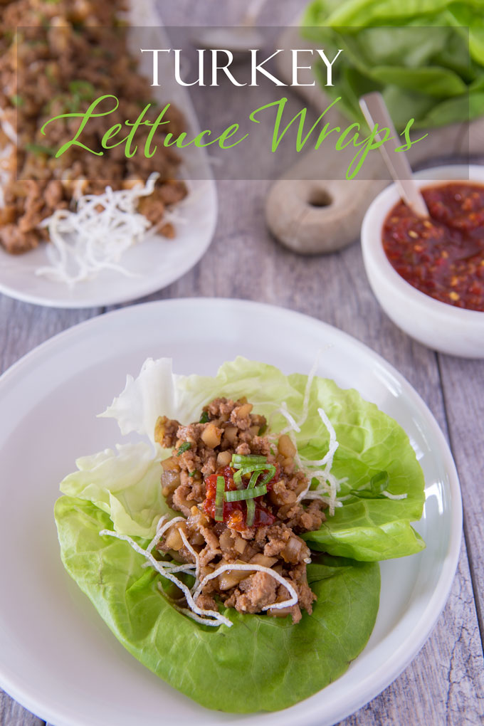 Turkey lettuce wrap on a plate, with text banner