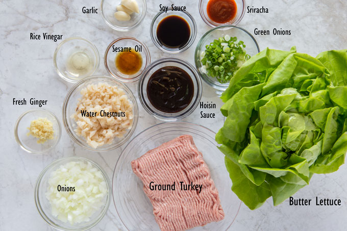 Ingredients for turkey lettuce wraps