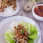 Turkey lettuce wrap on a plate