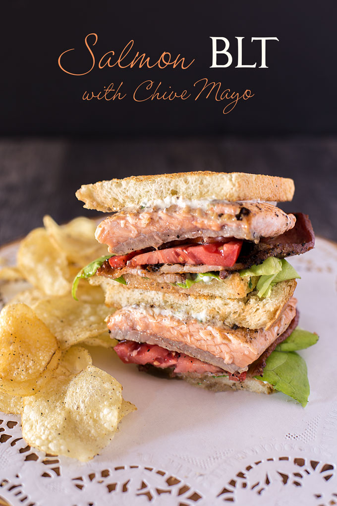 Salmon BLT sandwich halves stacked, with chips and text banner