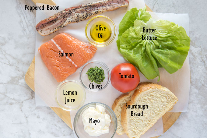 Ingredients for salmon BLT