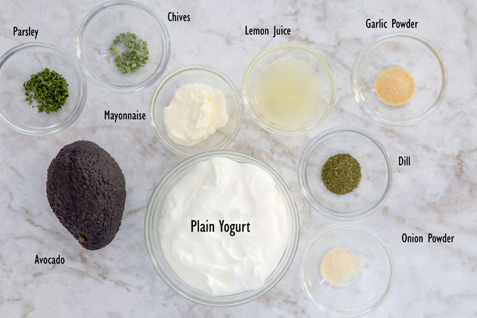 Ingredients for avocado ranch dressing