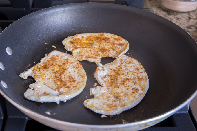 Cooking the turkey cutlets in a skillet