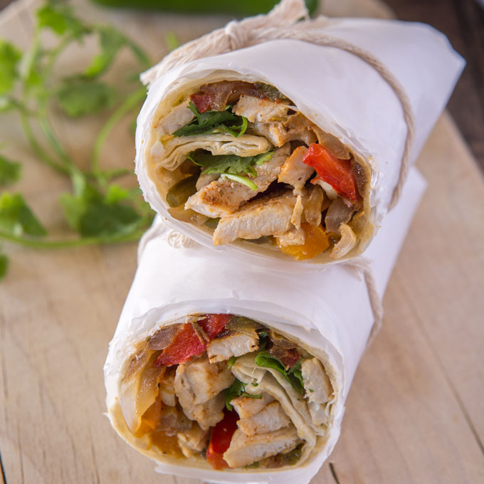 Finished turkey fajita wrap, cut in half and stacked