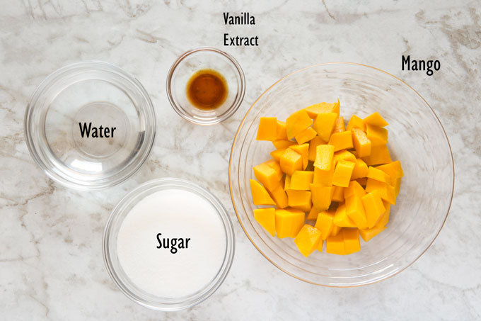 Ingredients for the mango syrup