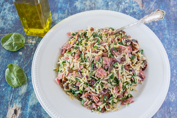 Mediterranean orzo in the serving dish