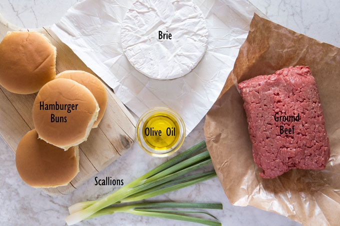 Ingredients for brie and scallion stuffed hamburger