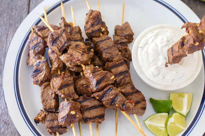Chipotle Beef Kabobs with Lime Cilantro Dipping Sauce