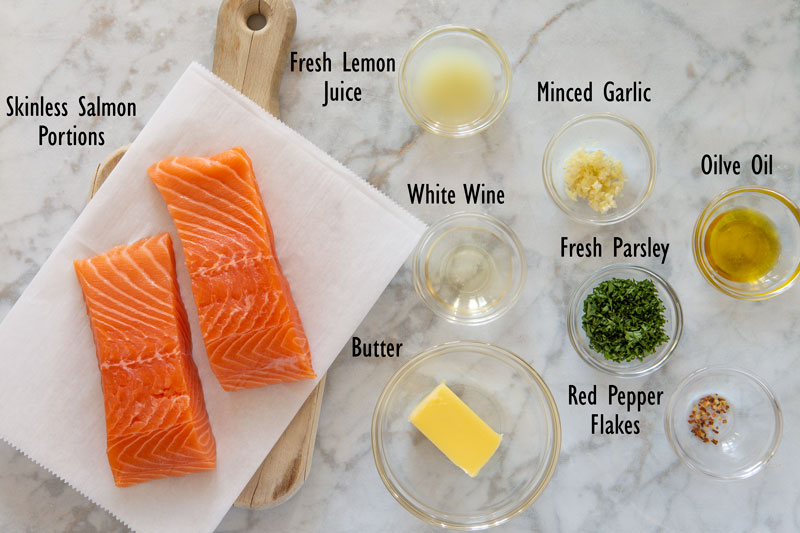Baked salmon scampi ingredients