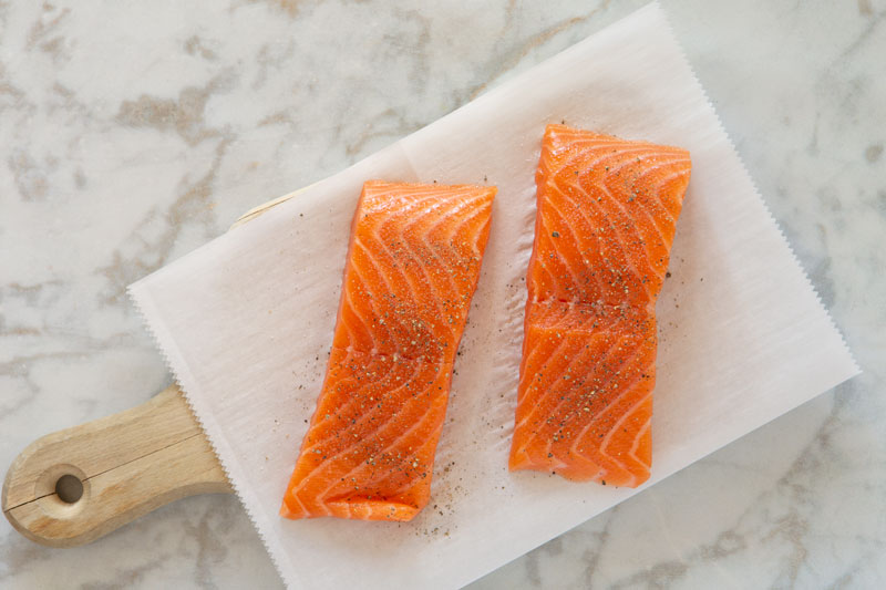 Salmon portions with salt and pepper