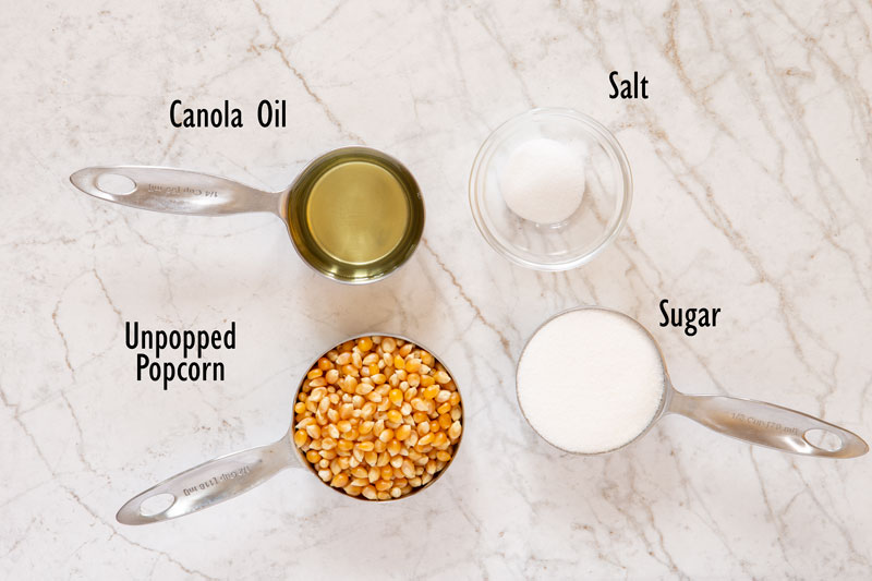 Ingredients for kettle corn made at home