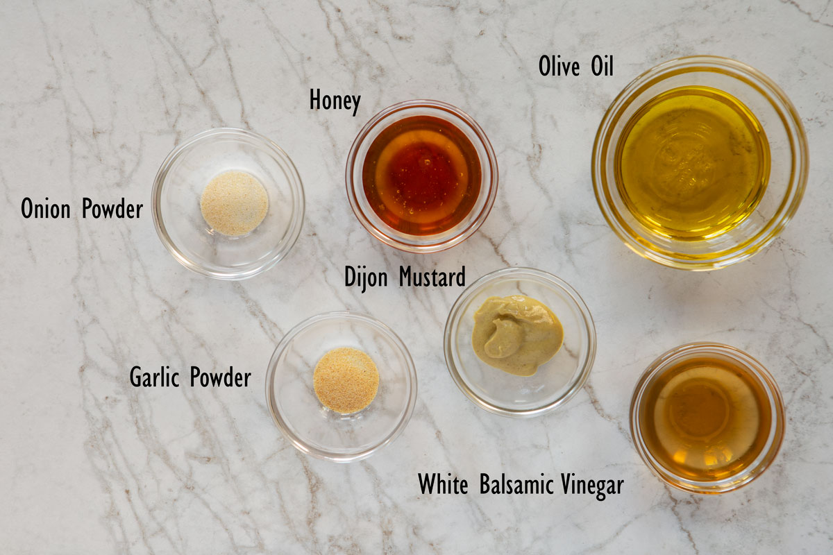 Ingredients for the honey white balsamic dressing