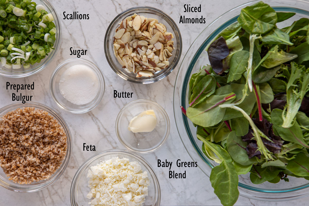 Ingredients for the nut 'n' honey baby greens salad