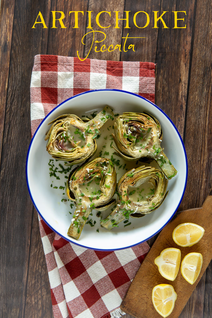 Artichoke Piccata served, with banner