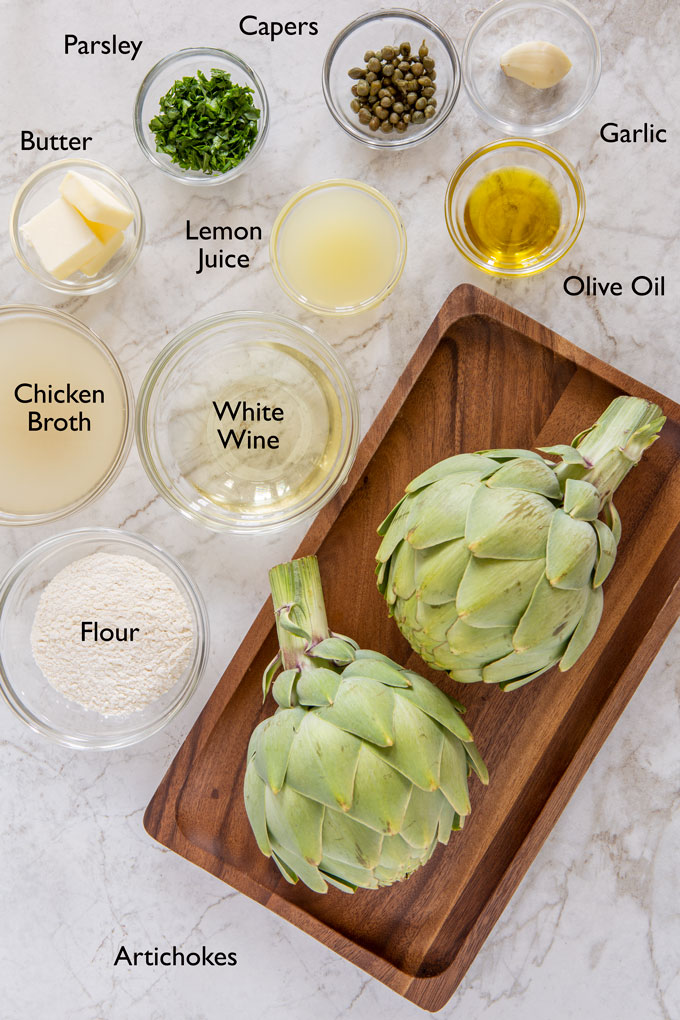 Ingredients for making artichoke piccata