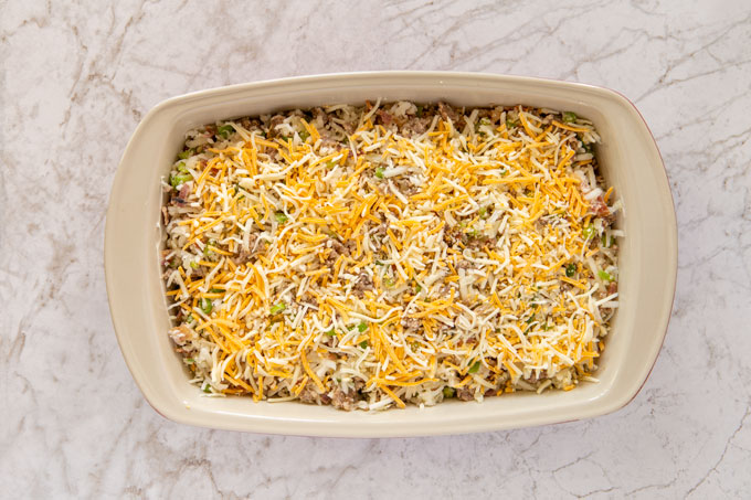 Remaining shredded cheese topping the baking dish