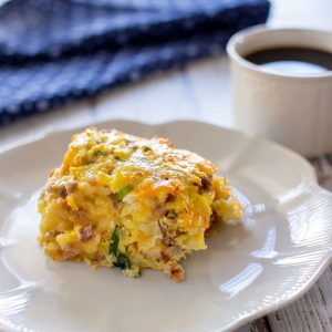 Feature image of breakfast casserole on a plate