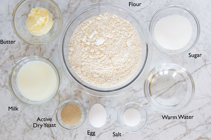 Ingredients for making the sweet roll dough