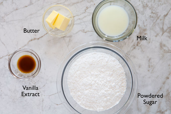 Ingredients for making the cinnamon roll glaze