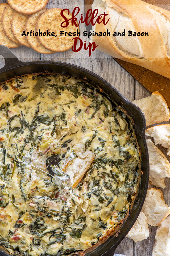 Baked artichoke, fresh spinach and bacon dip with label banner