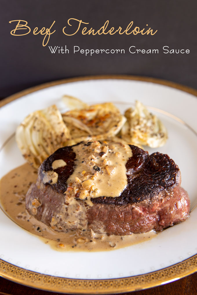 Plated beef tenderloin with peppercorn cream sauce with label banner