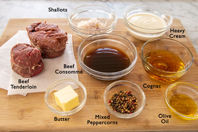 Ingredients for making the beef tenderloin with peppercorn cream sauce