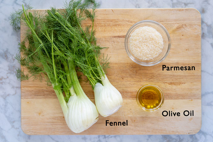 Ingredients for making Parmesan roasted fennel