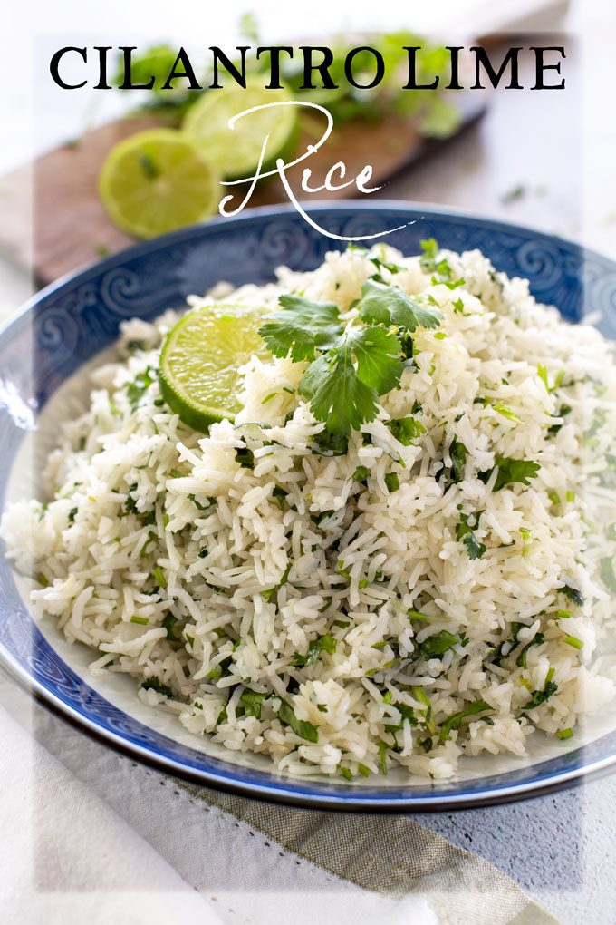 Cilantro Lime Rice in a bowl, garnished with lime and a cilantro section, banner page with text label