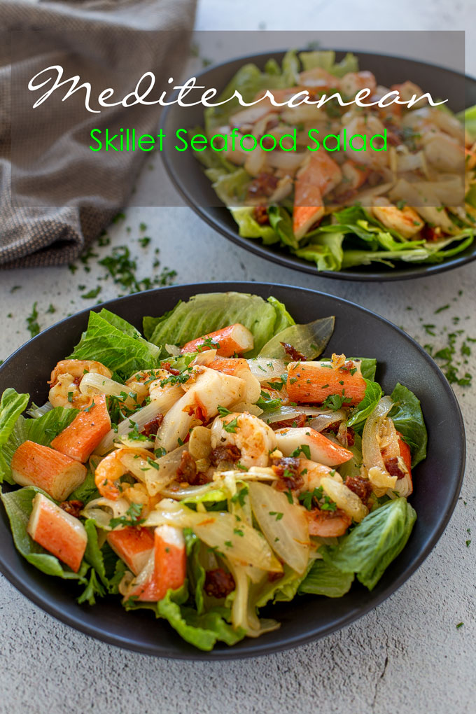 Portait of two salad plated with banner label