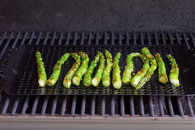 asparagus in the grill pan with sear marks
