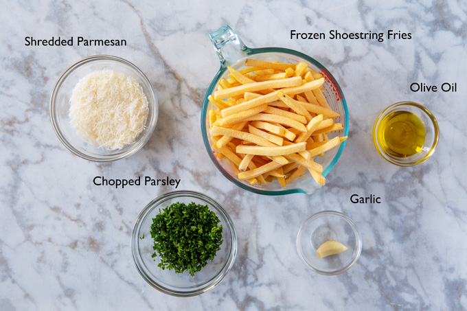 Ingredients for making Garlic and Parmesan Pomme Frites