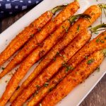 Feature image of cooked air fryer carrots