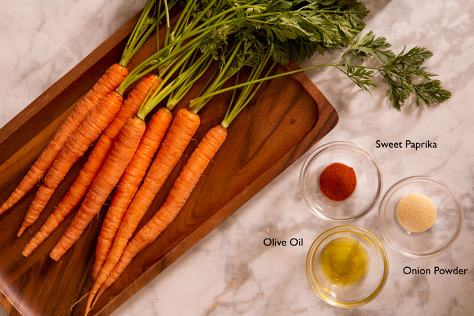 Ingredients for making air fryer carrots