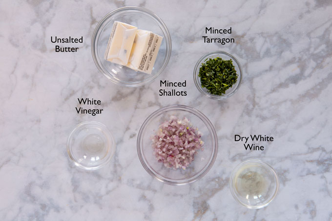 Ingredients for making Béarnaise compound butter.