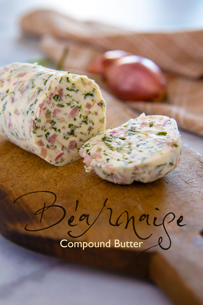 Béarnaise compound butter with a slice cut off and a label banner.